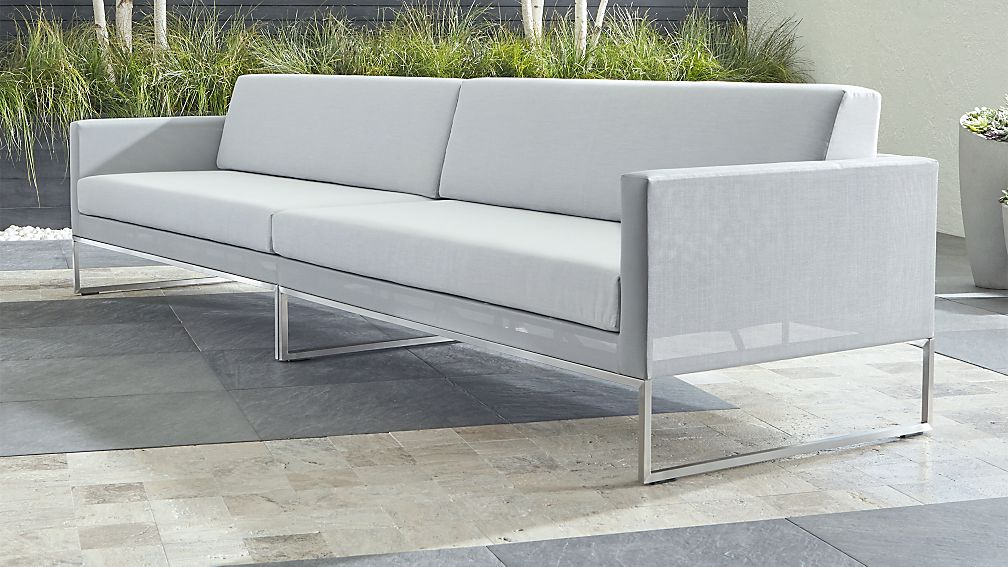 Dune Light Grey 2-Piece Sectional Sofa with Sunbrella ® Cushions - Image 1 of 2