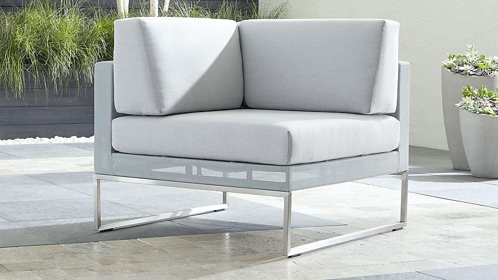 Dune Light Grey Corner Chair with Sunbrella ® Cushions - Image 1 of 5