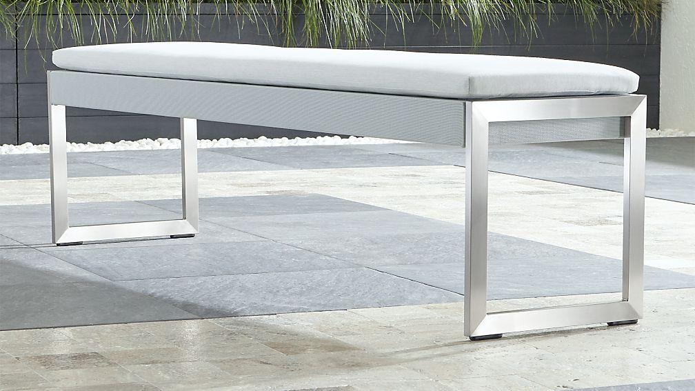 Dune Light Grey Dining Bench with Sunbrella ® Cushion - Image 1 of 4