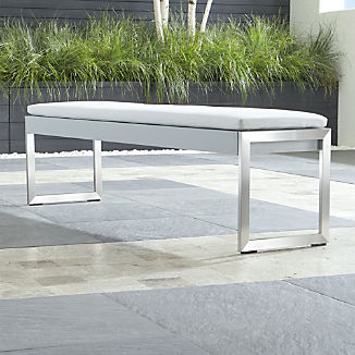 Dune Light Grey Dining Bench with Sunbrella ® Cushion