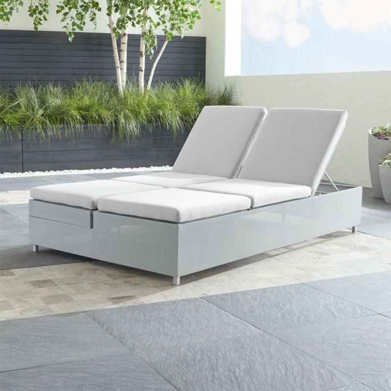 Light Grey Double Chaise Sofa Lounge