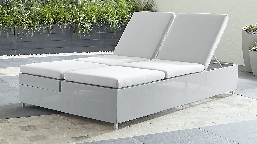 Dune Light Grey Double Chaise Lounge With Sunbrella Cushions Reviews Crate And Barrel