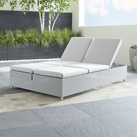 Light Grey Double Chaise Sofa Lounge