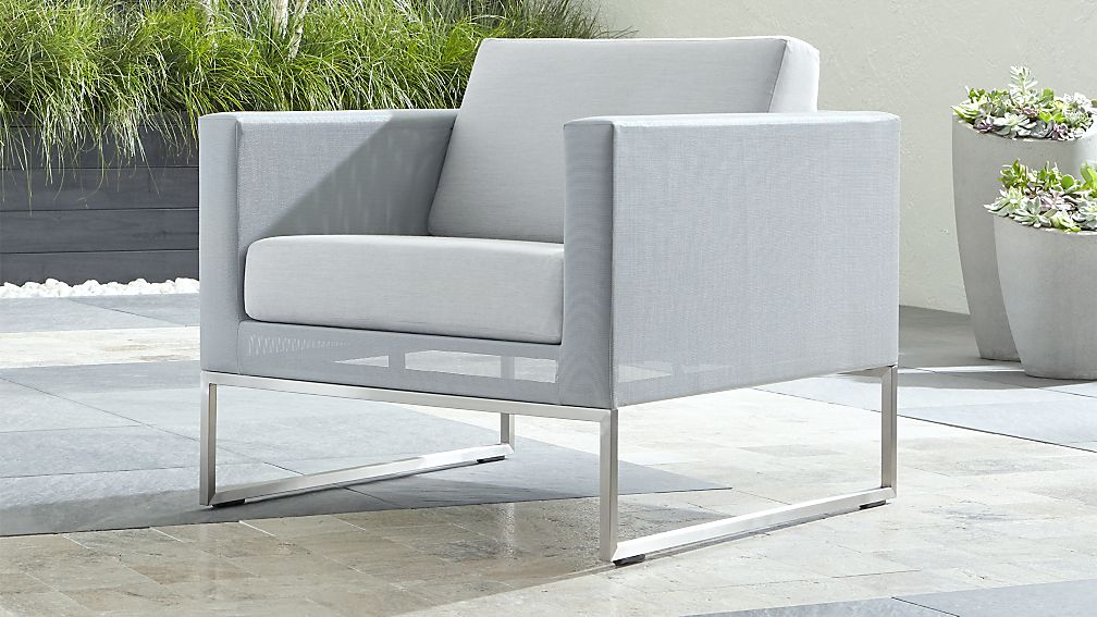 Dune Light Grey Lounge Chair with Sunbrella ® Cushions - Image 1 of 7