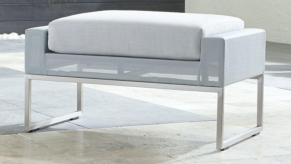 Dune Light Grey Ottoman with Sunbrella ® Cushion - Image 1 of 4