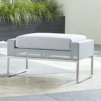 Dune Light Grey Ottoman with Sunbrella ® Cushion