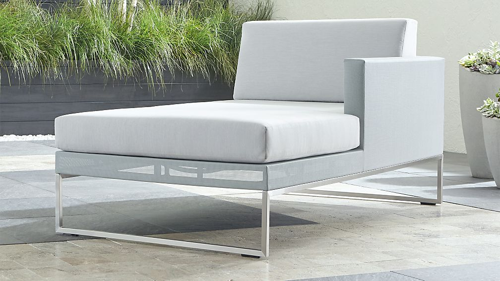 Dune Light Grey Right Arm Chaise with Sunbrella ® Cushions - Image 1 of 4