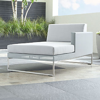 Dune Light Grey Right Arm Chaise with Sunbrella ® Cushions