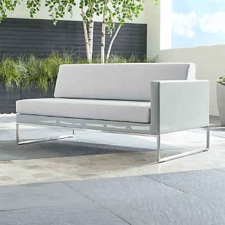 Dune Light Grey Right Arm Loveseat with Sunbrella ® Cushions