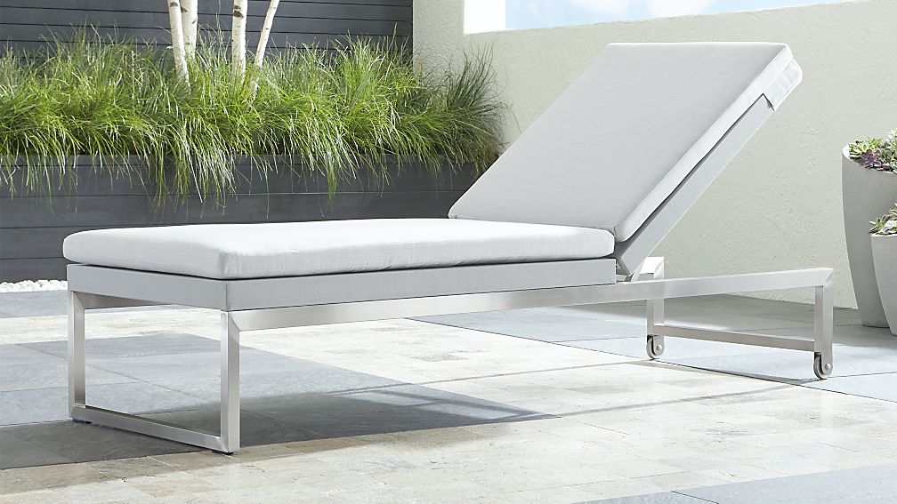 Dune Light Grey Chaise Lounge With Sunbrella Cushions