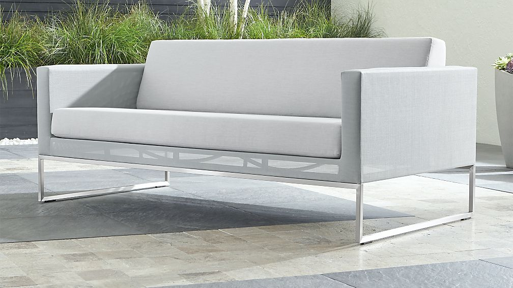 Dune Light Grey Sofa with Sunbrella ® Cushions - Image 1 of 6