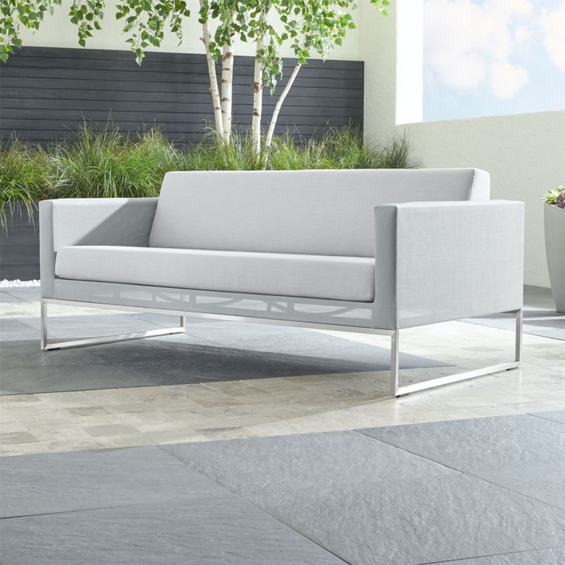 Dune Grey Sofa With Sunbrella Cushions Reviews Crate