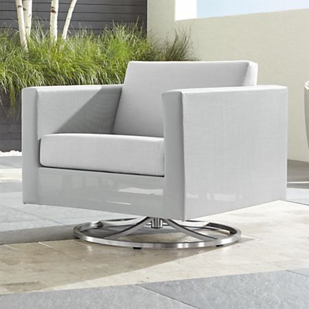 Admirable Dune Light Grey Swivel Lounge Chair With Sunbrella Cushions Bralicious Painted Fabric Chair Ideas Braliciousco