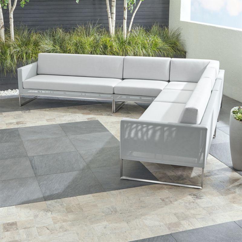 Dune Light Grey 5-Piece Sectional Sofa with Sunbrella ® Cushions
