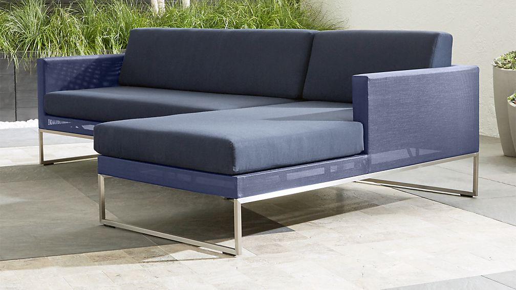 Dune 2 Piece Right Arm Chaise Sectional with Sunbrella