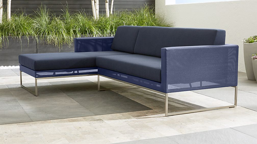 Dune Navy 2 Piece Left Arm Chaise Sectional With Sunbrella