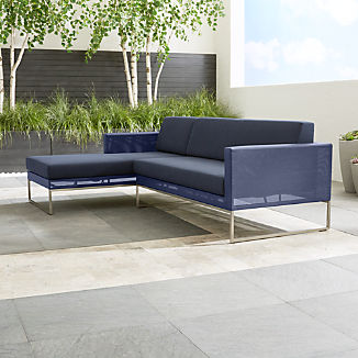 Dune Navy 2-Piece Left Arm Chaise Sectional with Sunbrella ® Cushions