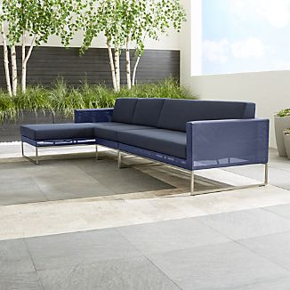 Dune 3-Piece Left Arm Chaise Sectional Sofa with Sunbrella ® Cushions