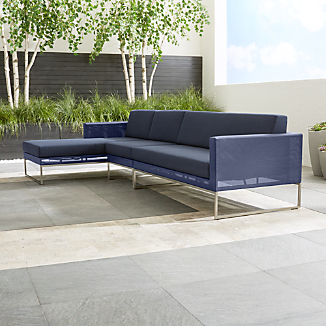 Dune Navy 3-Piece Left Arm Chaise Sectional Sofa with Sunbrella ® Cushions