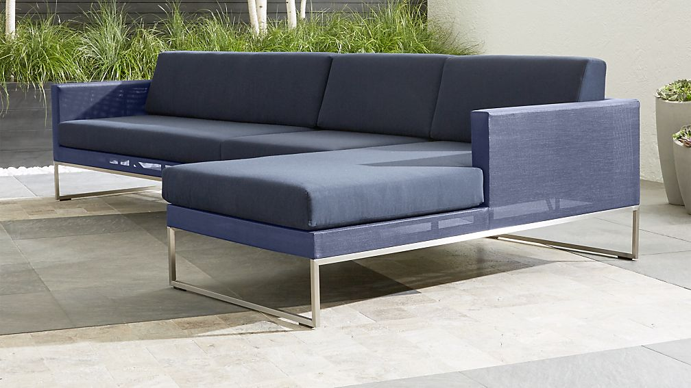 Dune 3 Piece Right Arm Chaise Sectional Sofa with