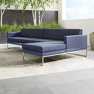 Dune 3-Piece Right Arm Chaise Sectional Sofa with Sunbrella ® Cushions
