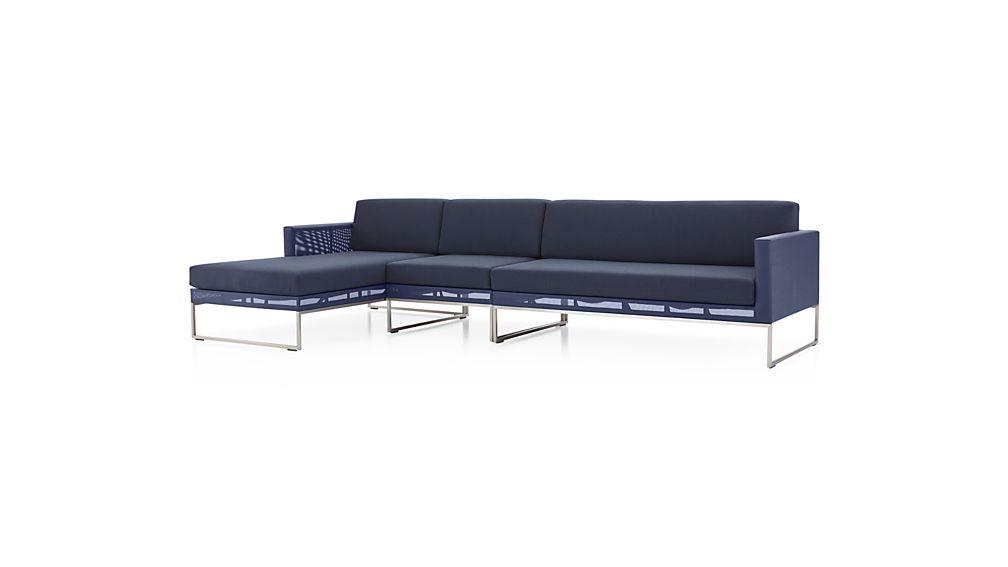 Dune 3-Piece Left Arm Chaise Sectional Sofa with Sunbrella ® Cushions