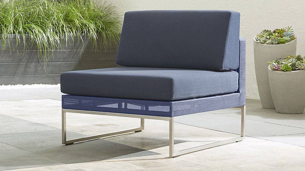Dune Navy Armless Chair with Sunbrella ® Cushions - Image 1 of 9