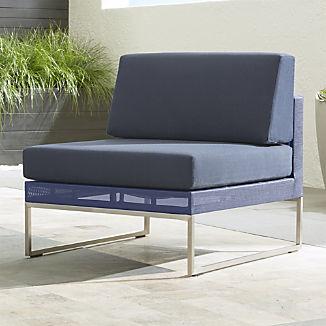 Dune Navy Armless Chair with Sunbrella ® Cushions