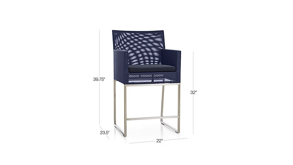 Dune Counter Stool With Sunbrella 174 Cushion Crate And Barrel