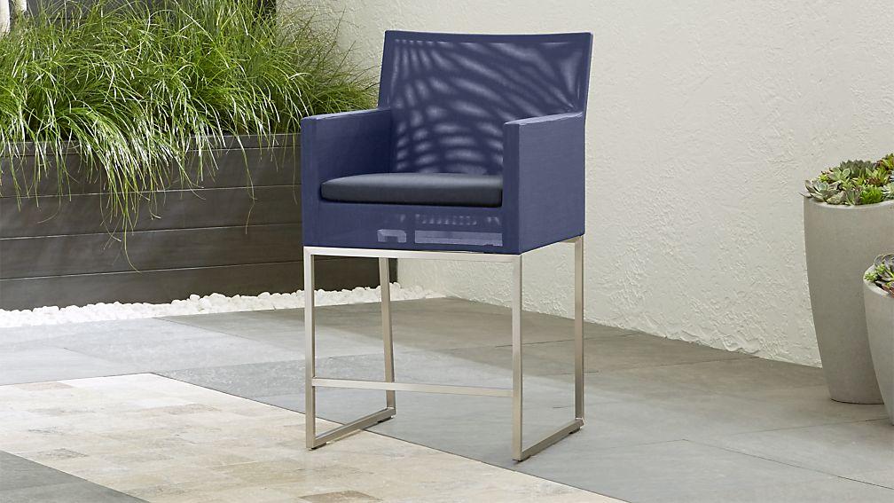 Dune Navy Counter Stool with Sunbrella ® Cushion - Image 1 of 6