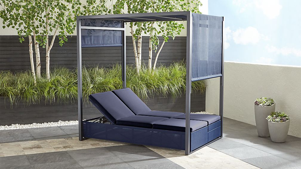Dune Navy Outdoor Double Chaise Lounge With Canopy