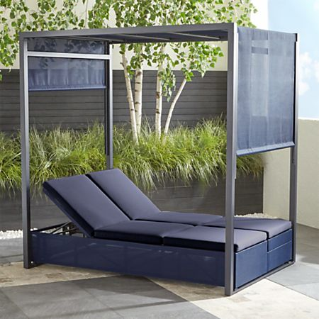 Dune Navy Double Chaise Sofa Lounge With Canopy