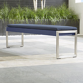 Dune Navy Dining Bench with Sunbrella ® Cushion