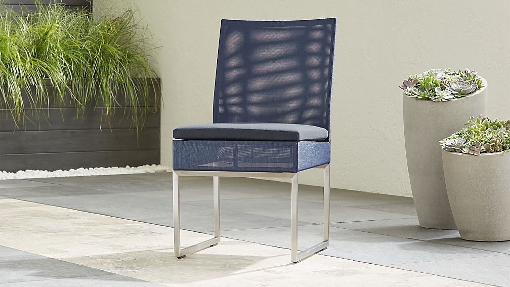 Dune Navy Dining Side Chair with Sunbrella ® Cushion - Image 1 of 6