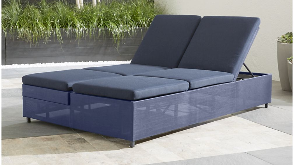 outdoor double chaise lounge Dune Navy Outdoor Double Chaise Lounge + Reviews | Crate and Barrel outdoor double chaise lounge