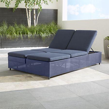 Dune Navy Double Chaise Sofa Lounge with Sunbrella ® Cushions