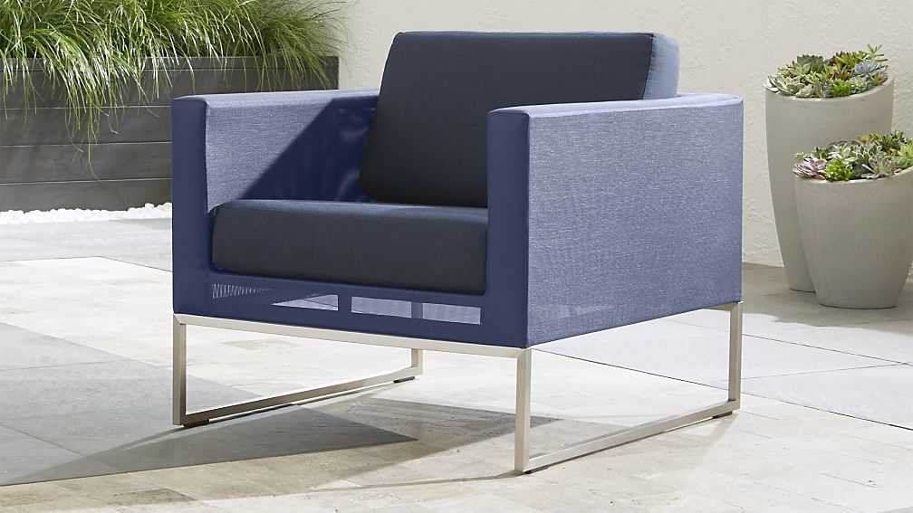 Dune Outdoor Blue Mesh Chair Crate and Barrel