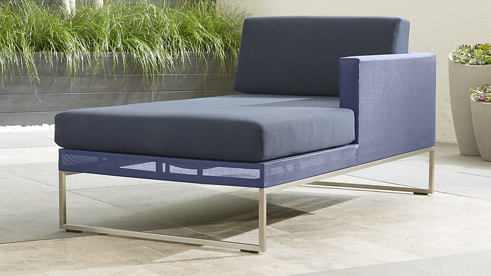 Dune Navy Right Arm Chaise with Sunbrella ® Cushions - Image 1 of 5