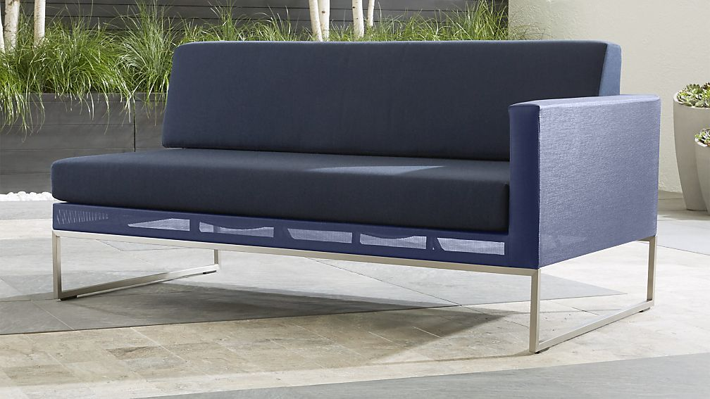 Dune Right Arm Navy Blue Loveseat Reviews Crate And Barrel