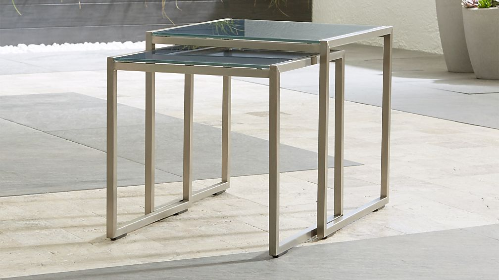 Dune Nesting Tables with Charcoal Painted Glass Set of Two - Image 1 of 12