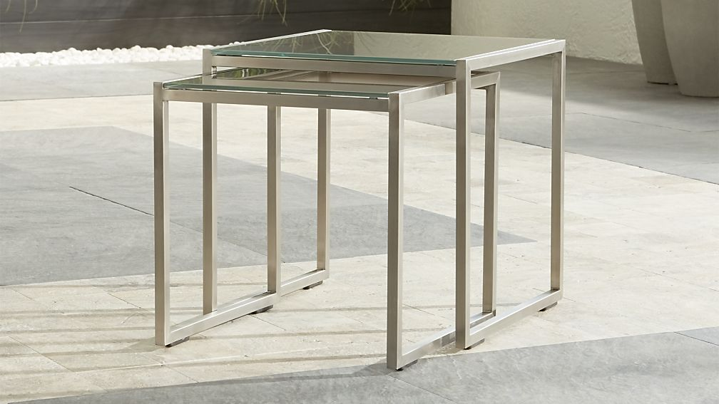 Nesting Tables dune nesting tables with taupe painted glass set of two | crate