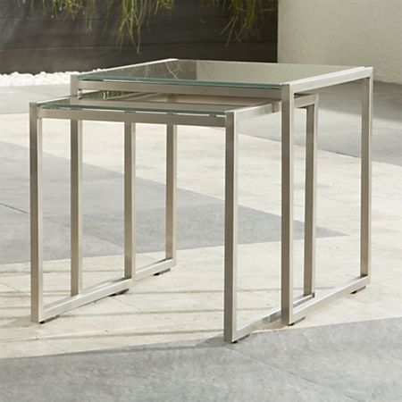 Peachy Dune Nesting Tables With Taupe Painted Glass Set Of Two Machost Co Dining Chair Design Ideas Machostcouk