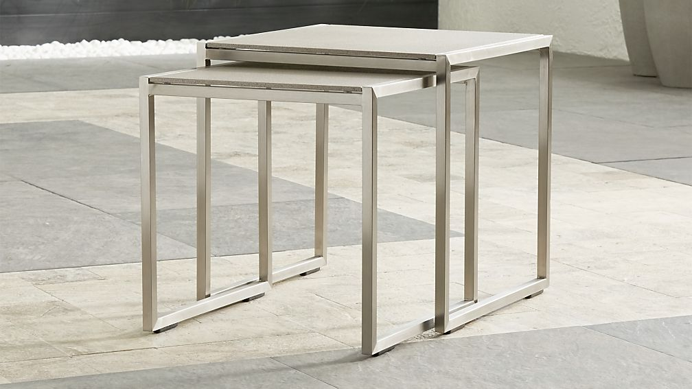 Dune Nesting Tables With Pebbled Gl Set Of Two Reviews Crate And Barrel