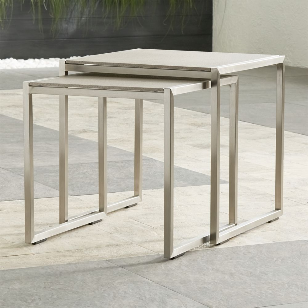 Dune Nesting Tables with Pebbled Glass Set of Two - Crate and Barrel