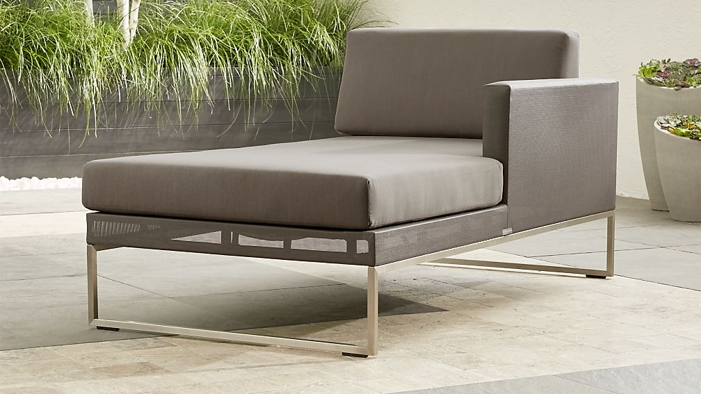 Dune Right Arm Chaise With Sunbrella Cushions Reviews Crate And Barrel