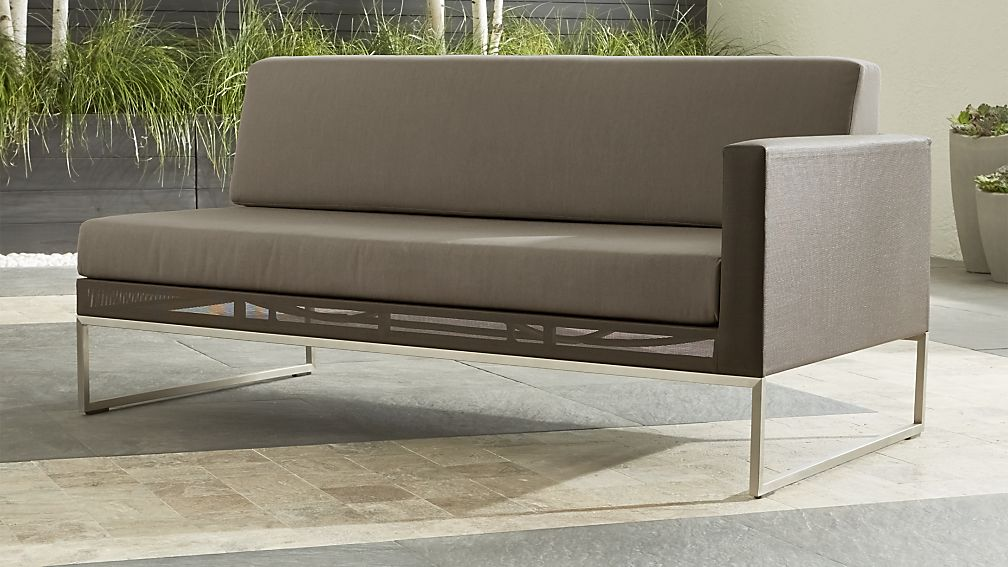 Dune Taupe Right Arm Loveseat with Sunbrella ® Cushions - Image 1 of 7