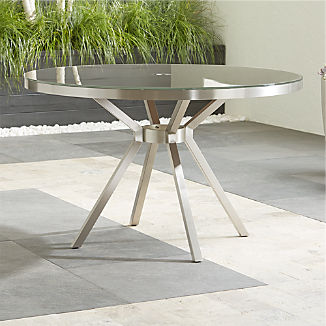 Dune Round Dining Table with Taupe Painted Glass