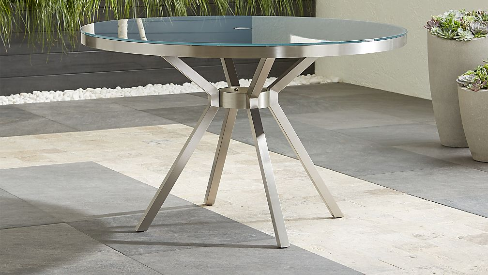 Dune Round Dining Table with Painted Charcoal Glass - Image 1 of 9