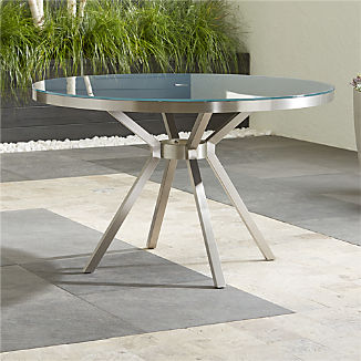 Dune Round Dining Table with Painted Charcoal Glass
