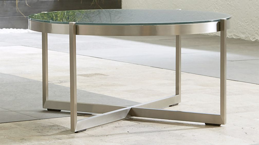 Dune Round Coffee Table with Charcoal Painted Glass - Image 1 of 9